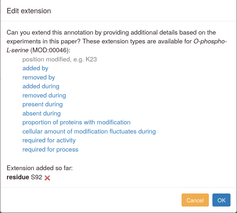 Annotation extension editing interface